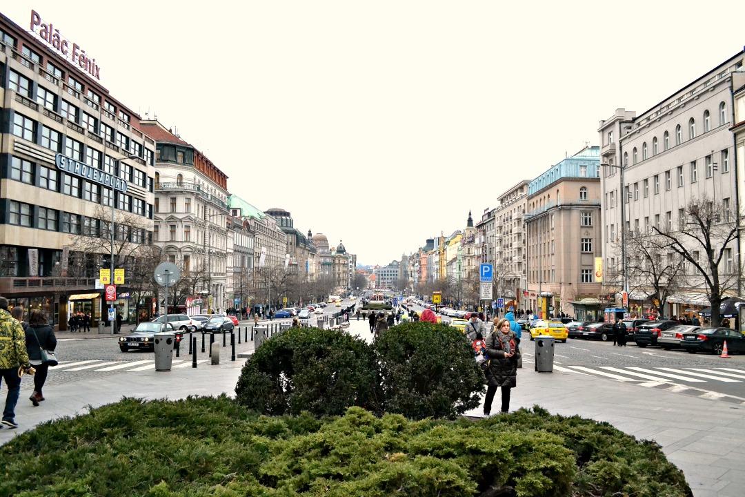 Winkelstraat vanaf het Wenceslasplein